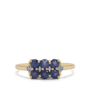 Burmese Blue Sapphire Ring with Diamond in 9K Gold 1.10cts
