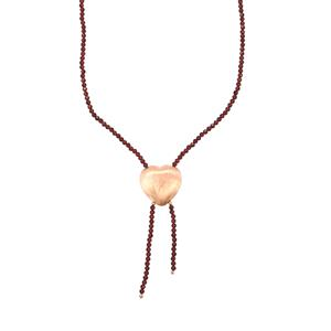 Nampula Garnet Bead Necklace in Rose Gold Plated Sterling Silver 30cts