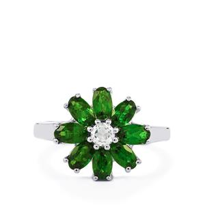 Chrome Diopside Ring with White Topaz in Sterling Silver 2.24cts