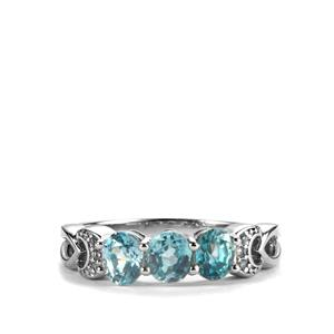 Ratanakiri Blue Zircon Ring with White Topaz in Sterling Silver 1.76cts