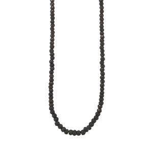 Black Spinel Graduated Bead Necklace in Sterling Silver 49cts