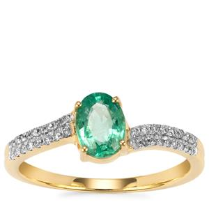 Ethiopian Emerald Ring with Diamond in 18k Gold 0.81cts