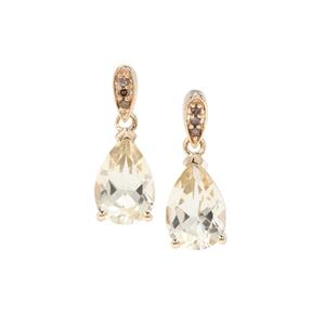 Serenite Earrings with Champagne Diamond in 9K Gold 2.47cts