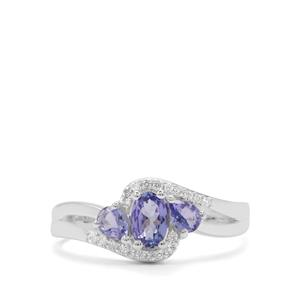 Tanzanite Ring with White Zircon in Sterling Silver 0.91ct