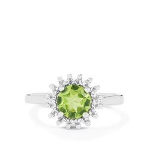 Changbai Peridot Ring with White Topaz in Sterling Silver 1.47cts