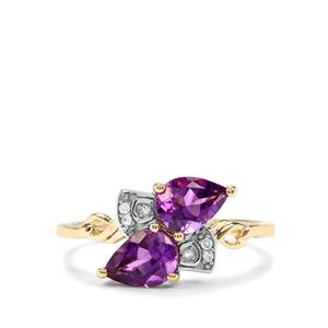 Moroccan Amethyst & Diamond 10K Gold Ring ATGW 1.24cts