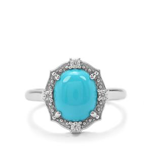 Sleeping Beauty Turquoise & White Zircon Sterling Silver Ring ATGW 3.02cts