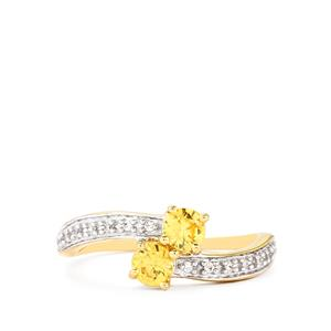 0.84ct Ceylon & White Zircon 10K Gold Ring