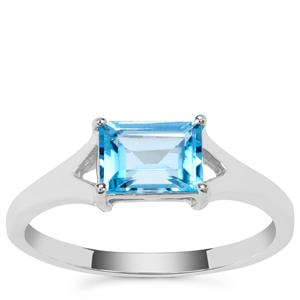 Swiss Blue Topaz Ring in Sterling Silver 1.25cts