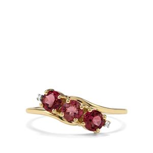 Cruzeiro Pink Tourmaline Ring with Diamond in 10k Gold 0.93ct