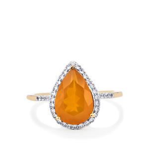 AAA Orange American Fire Opal Ring with White Zircon in 10K Gold 2.39cts