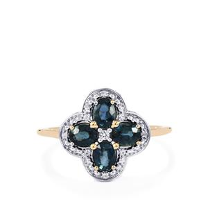 Nigerian Blue Sapphire Ring with White Sapphire in 9K Gold 1.11cts