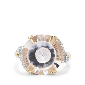 Maelstrom Cut Optic Quartz & Diamond 9K Gold Ring ATGW 11.22cts