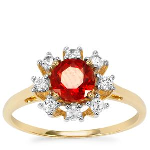 Tarocco Red Andesine Ring with White Zircon in 9K Gold 1.10cts