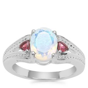 Ethiopian Opal Ring with Oyo Pink Tourmaline in Sterling Silver 1.37cts