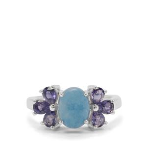 Thor Blue Quartz Ring with Bengal Iolite in Sterling Silver 2.61cts