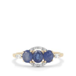 Burmese Blue Sapphire Ring with White Zircon in 9K Gold 1.55cts