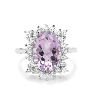 Rose De France Amethyst & White Topaz Sterling Silver Ring ATGW 6.27cts