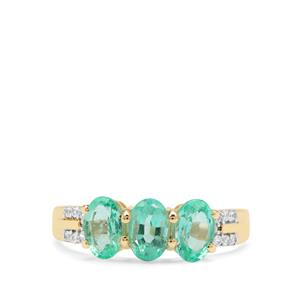 Malysheva Siberian Emerald Ring with White Zircon in 9K Gold 1.56cts