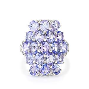 Tanzanite & White Topaz Sterling Silver Ring ATGW 6.26cts