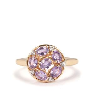 Natural Purple Sapphire Ring with White Zircon in 10K Gold 1.27cts