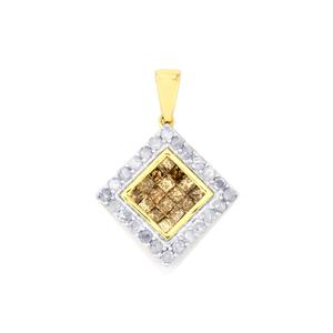 Champagne Diamond Pendant with White Diamond in 9K Gold 1ct