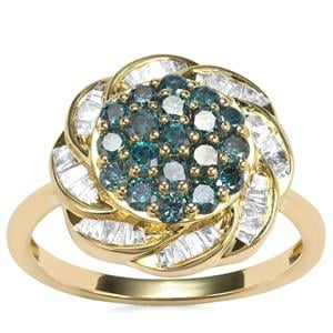 Blue Diamond Ring with Diamond in 9K Gold 1ct