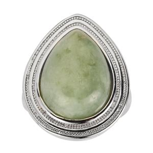 Moss-in-Snow Jade Ring in Sterling Silver 14.73cts