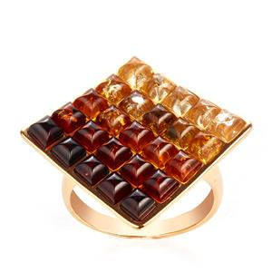 Baltic Cherry, Cognac and Champagne Amber Ring in Gold Tone Sterling Silver (3x3mm)