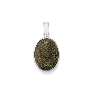 Fossil Black Coral Pendant in Sterling Silver 14.67cts