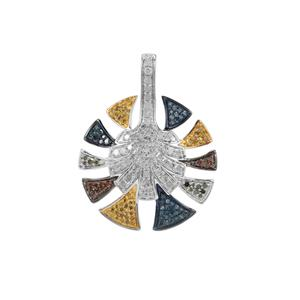 White Diamond Pendant with Blue, Yellow, Gognac & Green Diamond in Sterling Silver 1ct