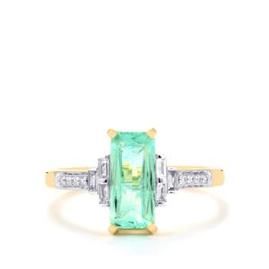 Paraiba Tourmaline Ring with Diamond in 18K Gold 1.68cts