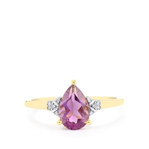 Kenyan Amethyst Ring with Diamond in 10k Gold 1.20cts