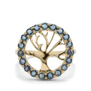 1.25ct Natural Nigerian Blue Sapphire 9K Gold Tree of Life Ring