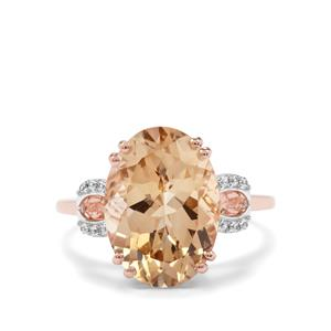 Champagne Danburite Ring with White Zircon in 10K Rose Gold 5.83cts