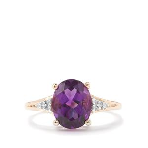 Moroccan Amethyst & Diamond 10K Gold Ring ATGW 2.49cts