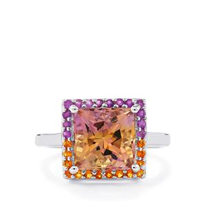 Anahi Ametrine, Diamantina Citrine Ring with Bahia Amethyst in Sterling Silver 3.56cts