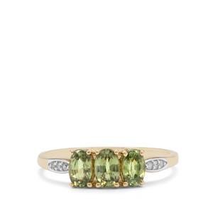 Green Dragon Demantoid Garnet & Diamond 9K Gold Ring ATGW 1.35cts