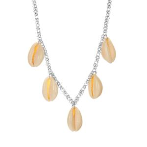 Cowrie Shell Necklace in Rhodium Flash Sterling Silver (21 x 14mm)