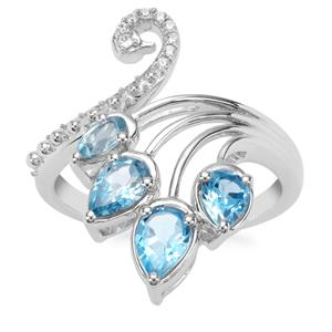 Swiss Blue Topaz Peacock Ring with White Zircon in Sterling Silver 1.65cts