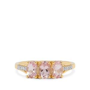 Cherry Blossom Morganite Ring with Diamond in 9K Gold 1.25cts