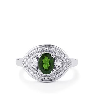 Chrome Diopside & White Topaz Sterling Silver Ring ATGW 1.05cts