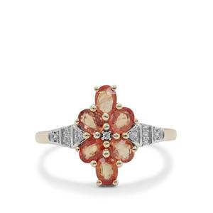 Songea Orange Sapphire Ring with White Zircon in 9K Gold 1.50cts