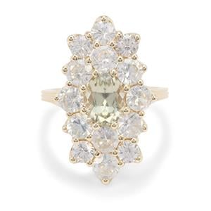Csarite® & White Zircon 9K Gold Ring ATGW 6.15cts