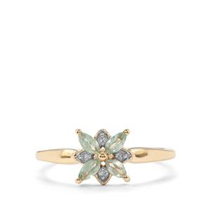 Alexandrite & Diamond 9K Gold Ring ATGW 0.35cts