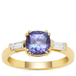 AAA Tanzanite Ring with Diamond in 18K Gold 1.59cts