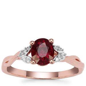 Comeria Garnet Ring with White Zircon in 9K Rose Gold 1.41cts