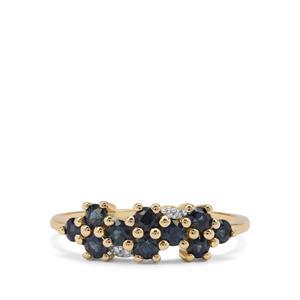 Australian Blue Sapphire & Diamond 9K Gold Ring ATGW 0.83ct