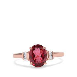 Mahenge Garnet & White Zircon 9K Rose Gold Ring ATGW 2.21cts