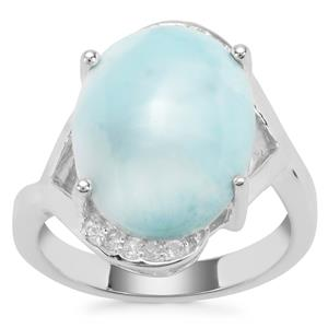 Larimar Ring with White Zircon in Sterling Silver 8.21cts